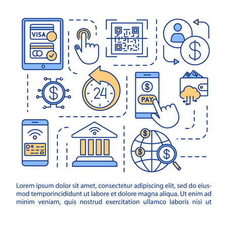 Mobile banking concept icon with text. Electonic money transfers. Manage accounts from mobile device. Article page vector template. Brochure, magazine, booklet design element with linear illustrations Ilustrace