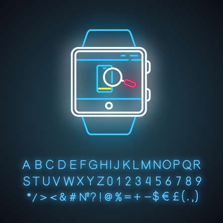 Find phone smartwatch function neon light icon. Showing location of device and locking screen, sound alert. Glowing sign with alphabet, numbers and symbols. Vector isolated illustration