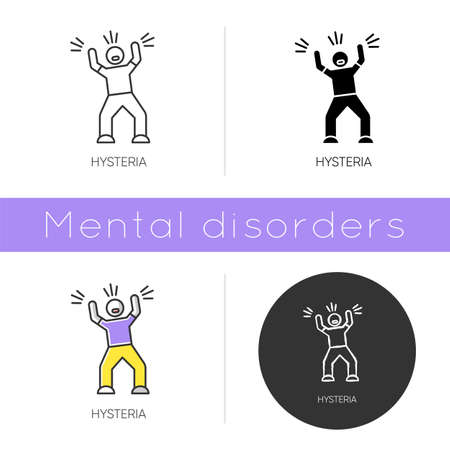 Hysteria icon. Stress and anxiety. Person screaming. Man shouting and yelling. Panic attack. Irritability. Mental disorder. Flat design, linear and color styles. Isolated vector illustrations