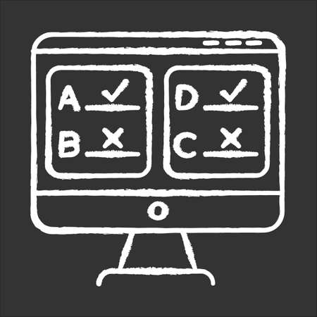 Online survey chalk icon. Multiple answer questionnaire. Social research. Consumer, customer satisfaction. Feedback. Evaluation. Data collection. Sociology. Isolated vector chalkboard illustration