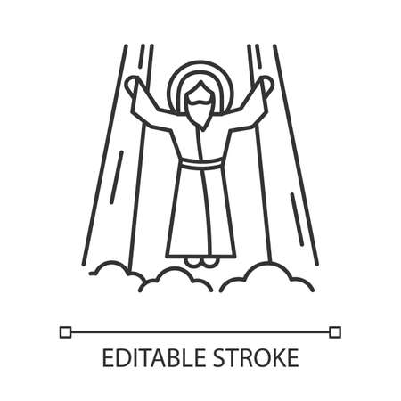 Ascension of Jesus Christ linear icon. Messiah, the son of god raising on cloud in light. Savior in heaven. Thin line illustration. Contour symbol. Vector isolated outline drawing. Editable stroke