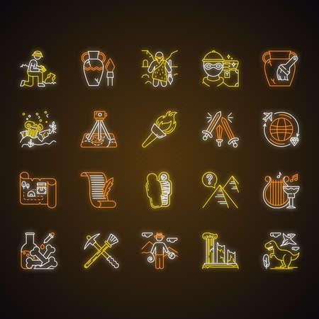 Archäologie-Neonlicht-Symbole gesetzt. Forscher bei Ausgrabungen. Artefakte. Prähistorisches Leben. Verlorene Städte. Alte Kultur. Feldforschung. Wiederherstellung. Flambeau. Leuchtende Zeichen. Isolierte Vektorgrafiken