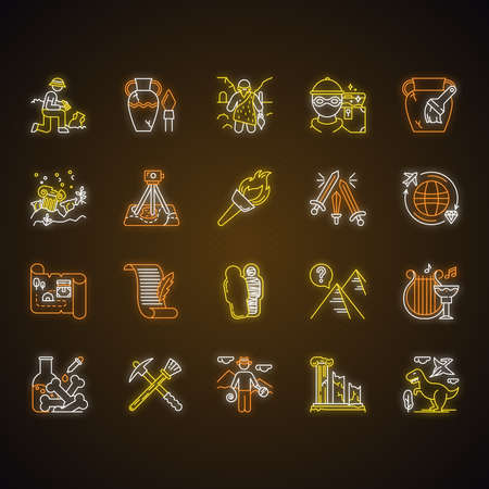 Archeology neon light icons set. Researcher on excavation. Artifacts. Prehistoric life. Lost cities. Old culture. Field research. Restoration. Flambeau. Glowing signs. Vector isolated illustrations