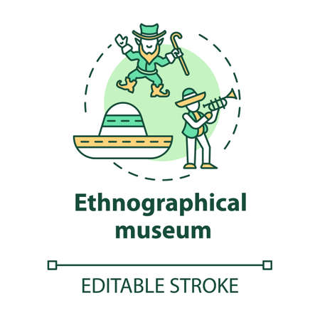 Ethnographical museum concept icon. Global heritage display. Anthropology, traditions. Cultural exposition idea thin line illustration. Vector isolated outline drawing. Editable stroke