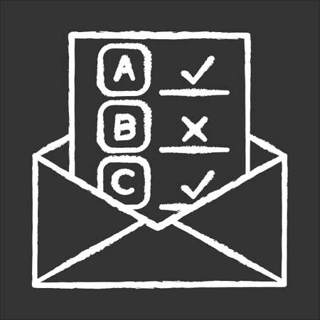 Email survey chalk icon. Public opinion. Research. Consumer review. Customer satisfaction. Feedback. Evaluation. Data collection. Sociology. Isolated vector chalkboard illustration