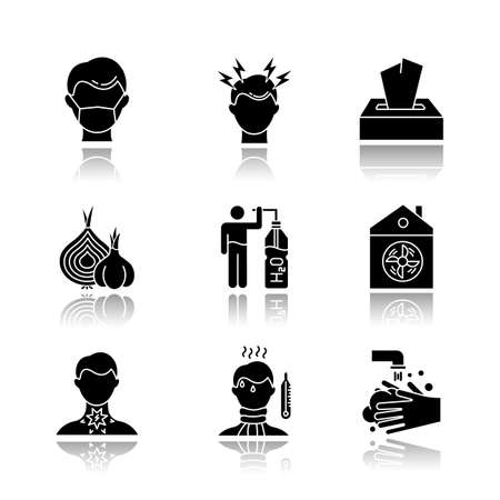 Common cold drop shadow black glyph icons set. Disposable medical mask. Headache. Wipes, tissues. Onion, garlic. Drink water. Ventilation. Sore throat. Fever. Rinse hand. Isolated vector illustrations