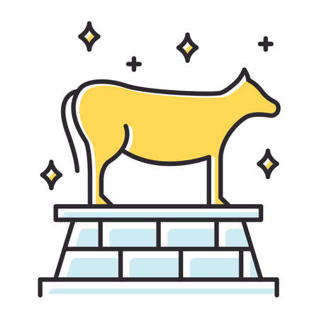 Golden Calf Bible story color icon. Animal idol, bull representation. Religious legend. Christian religion, holy book scene plot. Exodus Biblical narrative. Isolated vector illustration