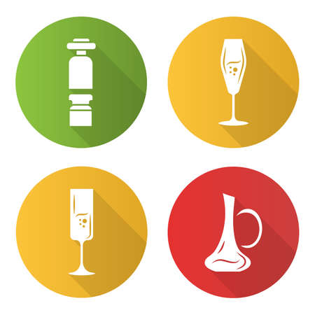 Winery flat design long shadow glyph icons set. Wine preserver, wineglasses, decanter. Alcohol glassware. Aperitif drink. Bar, pub sommelier, barman tool. Vector silhouette illustration