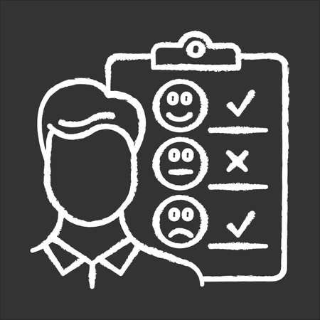 Personal interview chalk icon. Survey questionnaire form. Customer service rating, review. Feedback. Employee satisfaction. Emotional opinion. Data collection. Isolated vector chalkboard illustration
