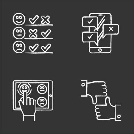 Survey chalk icons set. Pick satisfaction level. Positive, negative feedback. Sad, happy emoticons. Checklist with marks. Online chat. Like, dislike sign. Isolated vector chalkboard illustrations