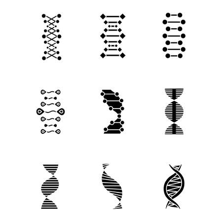 DNA double helix glyph icons set. Deoxyribonucleic, nucleic acid structure. Chromosome. Molecular biology. Genetic code. Genome. Genetics. Medicine. Silhouette symbols. Vector isolated illustration