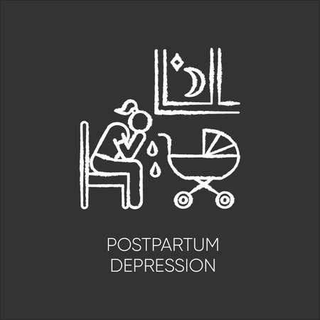 Postpartum depression chalk icon. Crying woman. Delivering infant. Stress and anxiety. Exhaustion and insomnia. Tired mother. Mental problem. Postnatal anxiety. Isolated vector chalkboard illustration Illustration