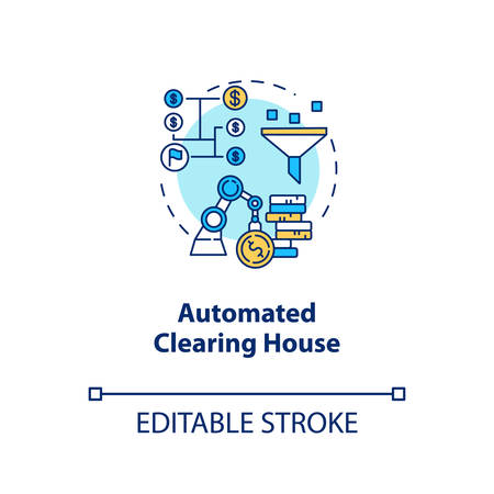 Automated Clearing House concept icon. ACH credit transfer idea thin line illustration. Electronic payment system. Financial transaction. Banking. Vector isolated outline drawing. Editable stroke