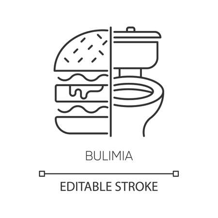 Bulimia linear icon. Eating disorder. Unhealthy hunger. Binge eating from stress. Mental disorder. Thin line illustration. Contour symbol. Vector isolated outline drawing. Editable stroke Illustration