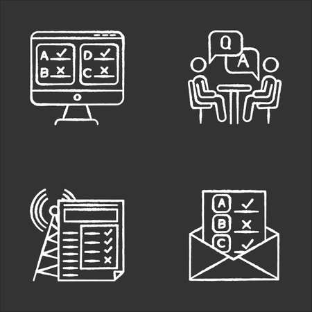 Survey methods chalk icons set. Online, email, internet connection poll. Interview. Public opinion. Customer review. Feedback. Data collection. Isolated vector chalkboard illustrations