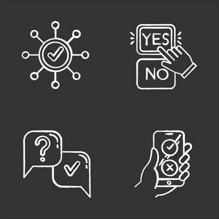 Survey chalk icons set. Correct answer, approve option. Spread structure. Yes and no button click. Question and answer. FAQ sign. Online feedback. Isolated vector chalkboard illustrations Vector Illustration