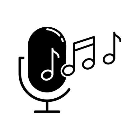Ringtone recognition glyph icon. Melody definition app. Sound recorded. Microphone and notes, music equipment. Voice command. Silhouette symbol. Negative space. Vector isolated illustration