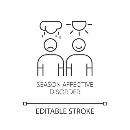 Seasonal affective disorder linear icon. Emotional change. Manic, depressive episodes. Anxiety. Mental health. Thin line illustration. Contour symbol. Vector isolated outline drawing. Editable stroke