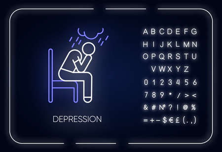 Depression neon light icon. Sad and worried man. Crying person. Chronic exhaustion and fatigue. Mental disorder. Glowing sign with alphabet, numbers and symbols. Vector isolated illustration