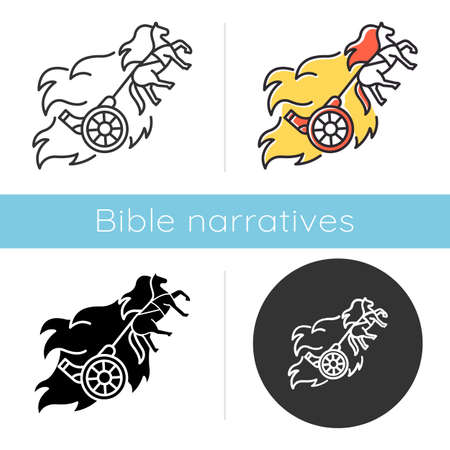 Chariot of fire Bible story icon. Religious legend. Christian religion. Saint chariot and horse in flame. Biblical narrative. Glyph, chalk, linear and color styles. Isolated vector illustrations