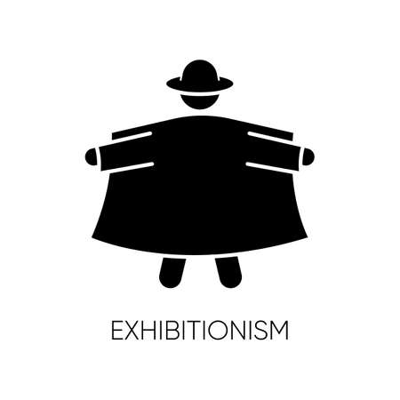 Exhibitionism glyph icon. Pervert in open coat. Deviation and perversion. Inappropriate behaviour. Paraphilia. Mental disorder. Silhouette symbol. Negative space. Vector isolated illustration