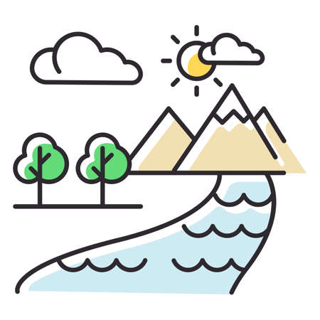 The Beginning Bible story color icon. World creation. Earth, paradise, heaven. Religious legend. Christian religion, holy book scene plot. Biblical narrative. Isolated vector illustration