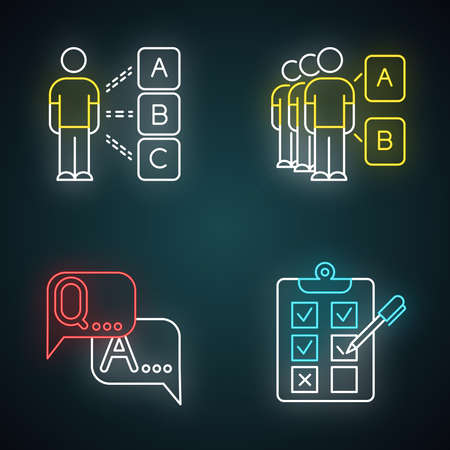 Survey neon light icons set. Personal questioning. Social opinion. Group test. FAQ sign. Question, answer. Written checklist. Share opinion. Tick checkbox. Glowing signs. Vector isolated illustrations