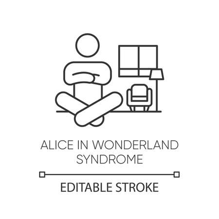 Alice in wonderland syndrome linear icon. Visual perception. Size distortion. Dysmetropsia. Mental disorder. Thin line illustration. Contour symbol. Vector isolated outline drawing. Editable stroke