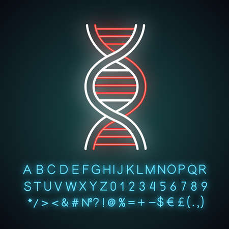 DNA helix neon light icon. Deoxyribonucleic, nucleic acid. Molecular biology. Genetic code. Genome. Genetics. Medicine. Glowing sign with alphabet, numbers and symbols. Vector isolated illustration Vettoriali