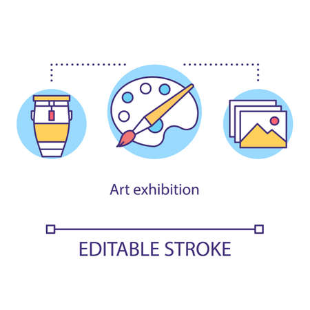 Art exhibition concept icon. Drawing and painting display event. Cultural museum. Artwork showcase. Gallery exposition idea thin line illustration. Vector isolated outline drawing. Editable stroke