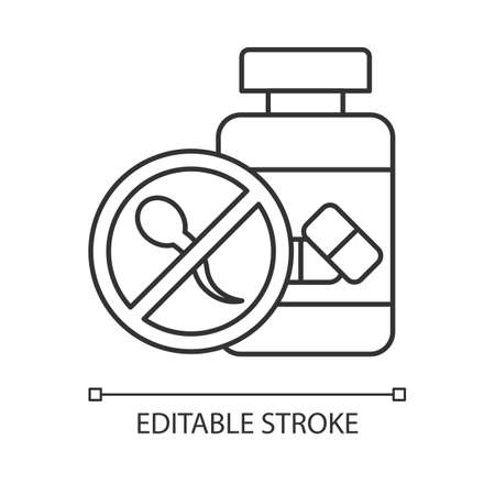 Birth control linear icon. Oral contraceptive. Female healthcare. Unintended pregnancy prevention. Medication. Thin line illustration. Contour symbol. Vector isolated outline drawing. Editable stroke