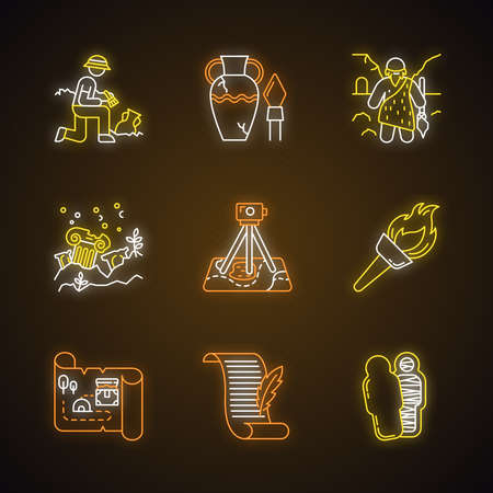 Archeology neon light icons set. Excavation. Archeologist. Ancient artifacts. Caveman. Ruins. Filed survey. Flambeau. Treasure map, manuscript. Mummy. Glowing signs. Vector isolated illustrations Illustration