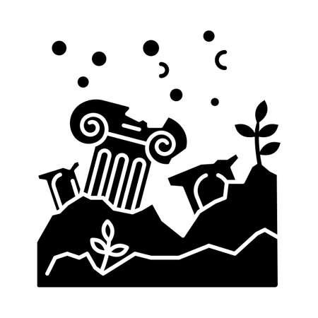 Lost city glyph icon. Ancient ruins in ocean. Columns underwater. Damaged pillar on sea bottom. Broken temple. Archeological discovery. Silhouette symbol. Negative space. Vector isolated illustration Vektoros illusztráció