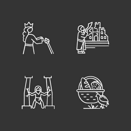 Bible narratives chalk icons set. Samson, manna and quail, The fall of Jericho myths. Religious legends. Christian religion. Biblical stories plot. Isolated vector chalkboard illustrations Ilustrace