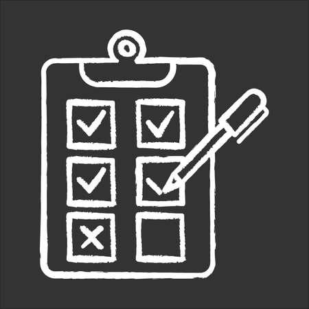 Pisemna ankieta ikona kreda. Wybór opcji. Zaznacz pole wyboru. Test ewaluacyjny. Wybierz odpowiedź. Popraw nieprawidłowe. Ankieta. Badania papieru. Strona w schowku. Ilustracja na białym tle tablica wektorowa