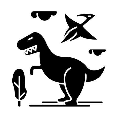 Dinosaurs glyph icon. Prehistoric animals. Tyrannosaurus rex. Flying pterodactyl. Jurassic park. Archeology and history. Silhouette symbol. Negative space. Vector isolated illustration 向量圖像