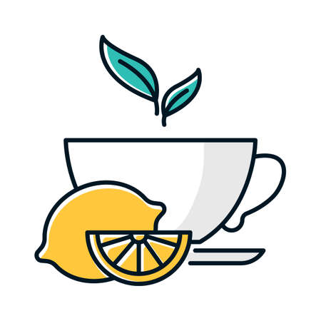 Lemon tea color icon. Common cold aid. Flu virus, influenza infection cure. Healthcare. Aromatic teacup. Hot drink in cup. Antioxidant with vitamin C. Beverage to relax. Isolated vector illustration