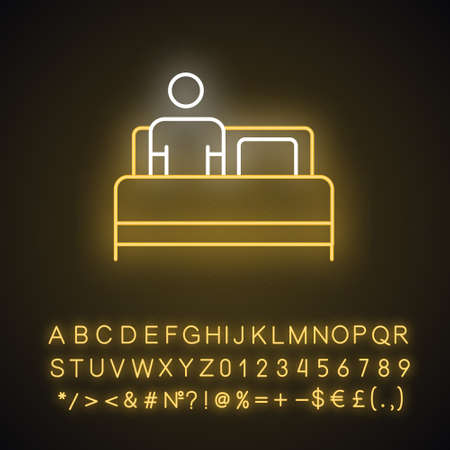 Bed rest neon light icon. Man relaxing under blanket. Common cold aid. Leisure and comfort. Person unwell in bedroom. Glowing sign with alphabet, numbers and symbols. Vector isolated illustration Vettoriali