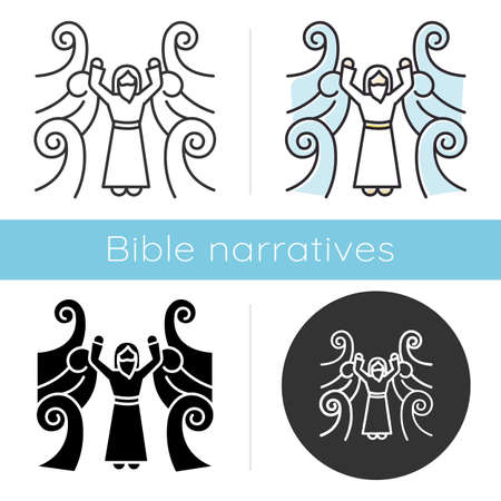 Crossing the Red sea Bible story icon. Moses prophet. Parted water. Egyptians rescue. Religious legend. Biblical narrative. Glyph, chalk, linear and color styles. Isolated vector illustrations