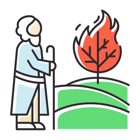 Moses und das Farbsymbol für die Bibelgeschichte des brennenden Busches. Prophet und Baum in Flammen. Religiöse Legende. Christliche Religion, Handlung der heiligen Buchszene. Biblische Erzählung. Isolierte Vektorillustration
