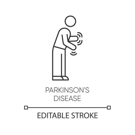 Parkinson's disease linear icon. Shaking, rigidity. Parkinsonism. Parkinsonian syndrome. Mental health issue. Thin line illustration. Contour symbol. Vector isolated outline drawing. Editable stroke