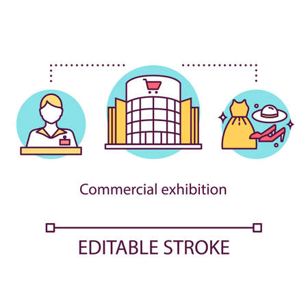 Commercial exhibition concept icon. Trading promo convention. Marketing event. International tradeshow idea thin line illustration. Vector isolated outline drawing. Editable stroke Vettoriali