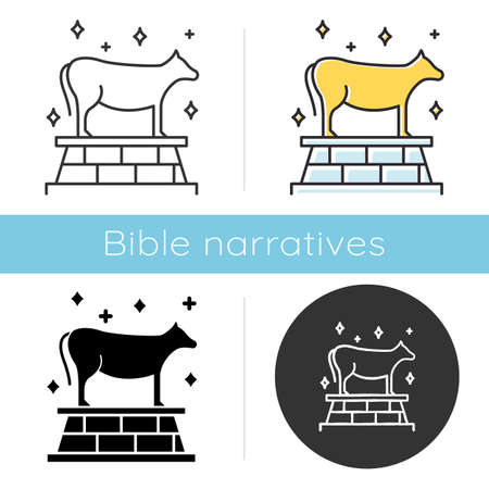 Golden Calf Bible story icon. Animal idol, bull representation. Religious legend. Christian religion. Exodus Biblical narrative. Glyph, chalk, linear and color styles. Isolated vector illustrations Ilustracje wektorowe