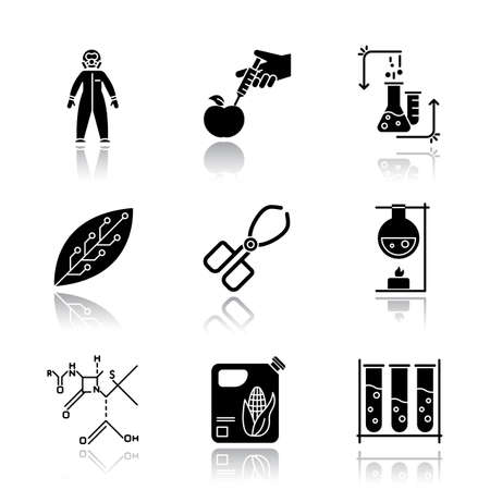 Science development drop shadow black glyph icons set. Biotechnologies equipment. Experiment method. Working in laboratory. Changing nature. Organic chemistry research. Isolated vector illustrations