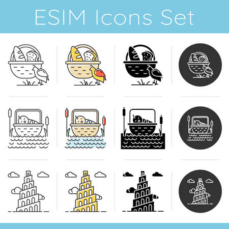 Bible narratives icons set. Manna and quail, Babel tower myths. Religious legends. Christian religion, holy book scene. Biblical stories. Linear, black and color styles. Isolated vector illustrations Ilustrace