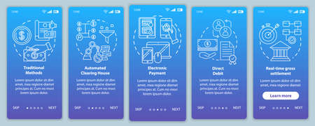 Payment systems onboarding mobile app page screen vector template. Electronic payment. Walkthrough website steps with linear illustrations. Direct debit. UX, UI, GUI smartphone interface concept