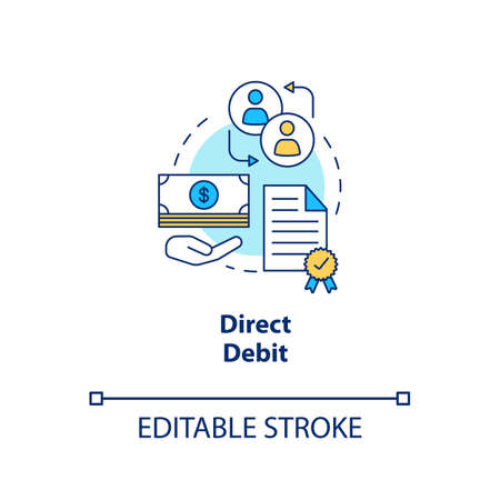 Direct debit concept icon. Finacial withdrawal idea thin line illustration. Bank transaction. Online banking operation. Payment method. Vector isolated outline drawing. Editable stroke