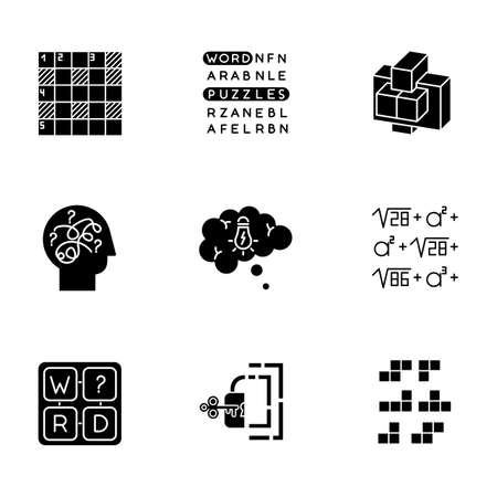 Puzzles and riddles glyph icons set. Construction, word puzzle. Crossword. Math problem. Puzzled mind. Logic games. Mental exercise. Brain teaser. Silhouette symbols. Vector isolated illustration
