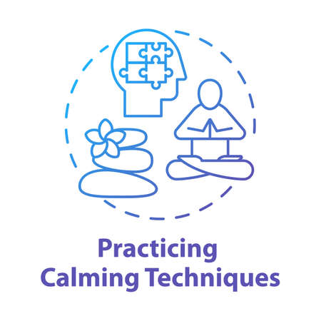 Practicing calming techniques concept icon. Relaxation and mental exercises. Meditation and yoga for reducing stress idea thin line illustration. Vector isolated outline drawing