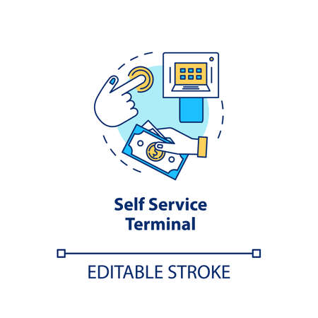 Self Service Terminal concept icon. Customer-operated checkout idea thin line illustration. Payment system. Shopping checkout. Electronic transaction. Vector isolated outline drawing. Editable stroke